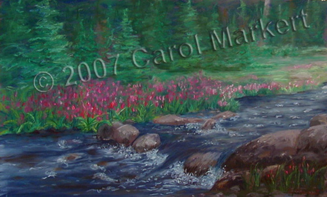 Wildflower Stream - pastel painting