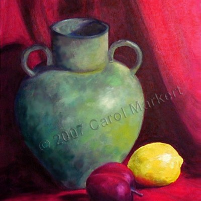 Green Vase on Red - oil painting