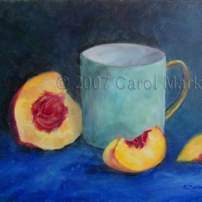 Fresh Peach on Blue - oil painting