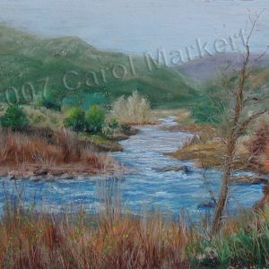 Early Spring River - pastel painting