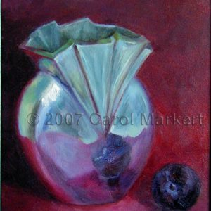 Silver Vase with Plum - oil painting
