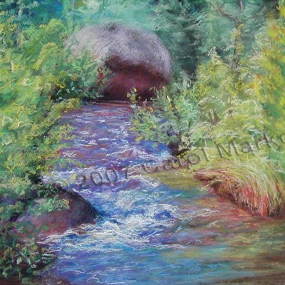 Lively Stream - pastel painting