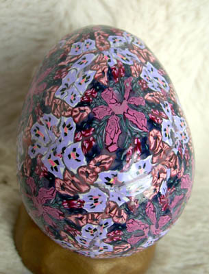 calico polymer clay egg