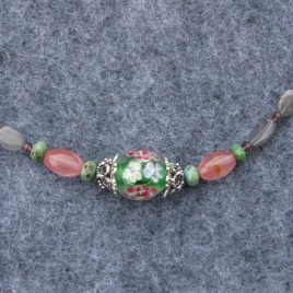 Pink Tourmaline, Grey Moonstone and Floral Bead Short Necklace