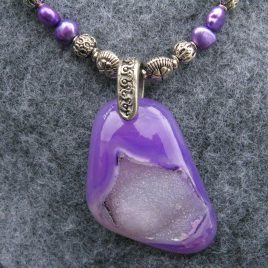 Beaded necklace with purple druzy pendant – SOLD