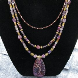 Multistrand Purple Jasper Necklace Set – SOLD