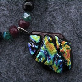 Red Dichroic Glass and Garnet Necklace Set