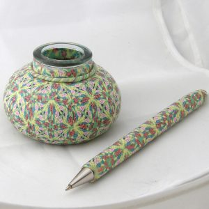 intricate polymer clay canework pen and inkwell