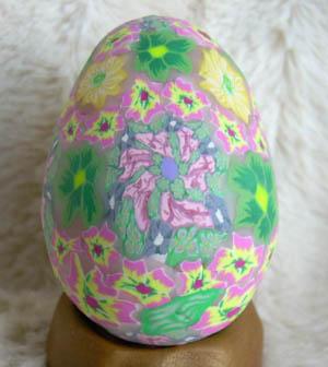 pink green polymer egg