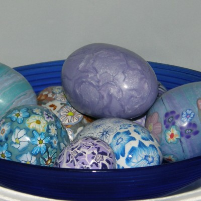 Blue polymer clay eggs